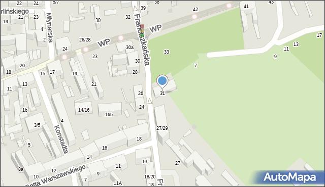 Łódź, Franciszkańska, 31, mapa Łodzi