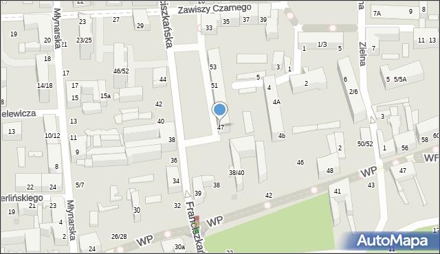 Łódź, Franciszkańska, 47, mapa Łodzi