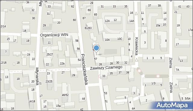 Łódź, Franciszkańska, 57/59, mapa Łodzi