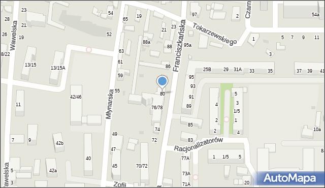 Łódź, Franciszkańska, 80, mapa Łodzi