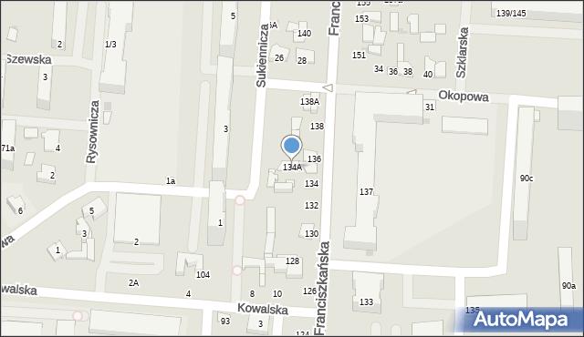 Łódź, Franciszkańska, 134A, mapa Łodzi