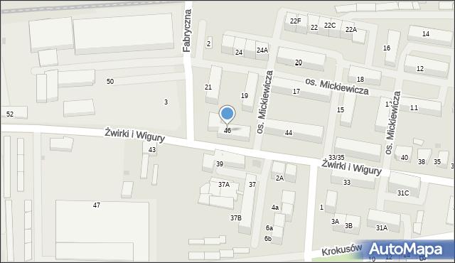 Mikołów, Franciszka Żwirki i Stanisława Wigury, 46, mapa Mikołów
