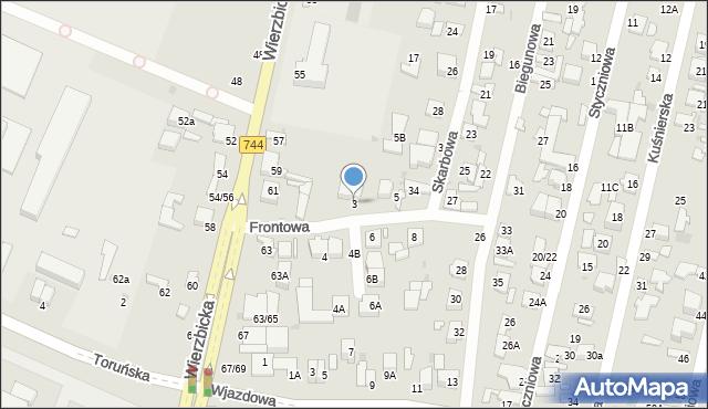 Radom, Frontowa, 3, mapa Radomia