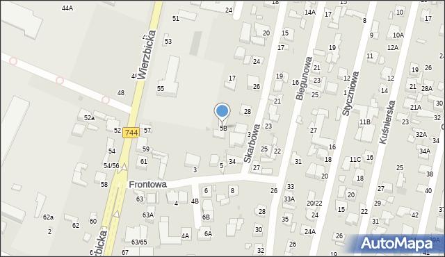 Radom, Frontowa, 5B, mapa Radomia
