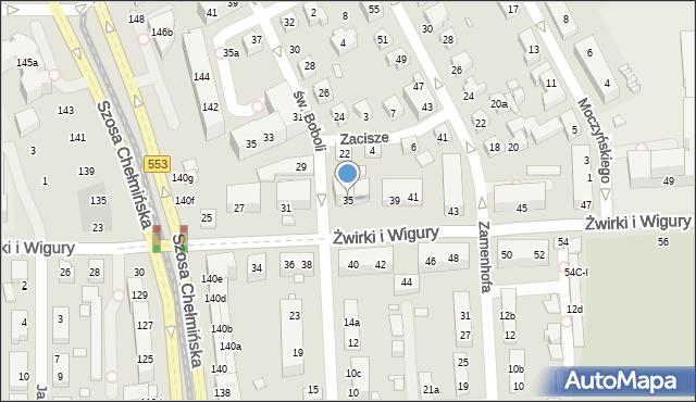 Toruń, Franciszka Żwirki i Stanisława Wigury, 35, mapa Torunia