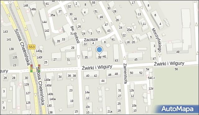 Toruń, Franciszka Żwirki i Stanisława Wigury, 39, mapa Torunia