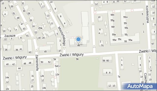 Toruń, Franciszka Żwirki i Stanisława Wigury, 49, mapa Torunia