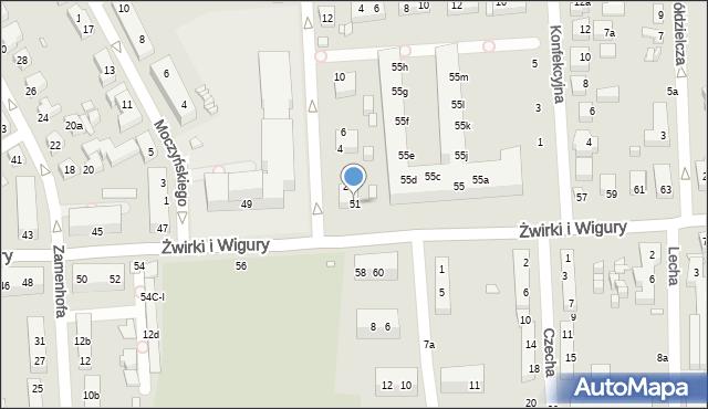 Toruń, Franciszka Żwirki i Stanisława Wigury, 51, mapa Torunia