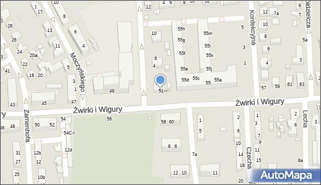 Toruń, Franciszka Żwirki i Stanisława Wigury, 53, mapa Torunia