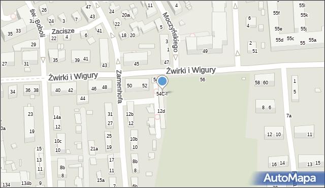 Toruń, Franciszka Żwirki i Stanisława Wigury, 54C-I, mapa Torunia