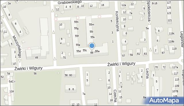 Toruń, Franciszka Żwirki i Stanisława Wigury, 55, mapa Torunia