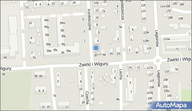 Toruń, Franciszka Żwirki i Stanisława Wigury, 57, mapa Torunia