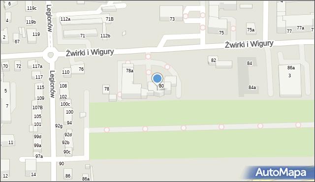 Toruń, Franciszka Żwirki i Stanisława Wigury, 80a, mapa Torunia