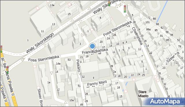 Toruń, Franciszkańska, 17, mapa Torunia