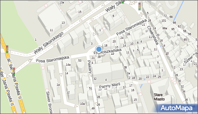Toruń, Franciszkańska, 19, mapa Torunia