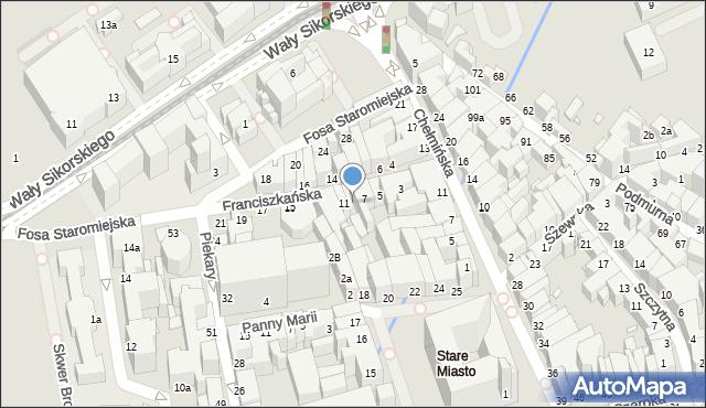 Toruń, Franciszkańska, 9, mapa Torunia