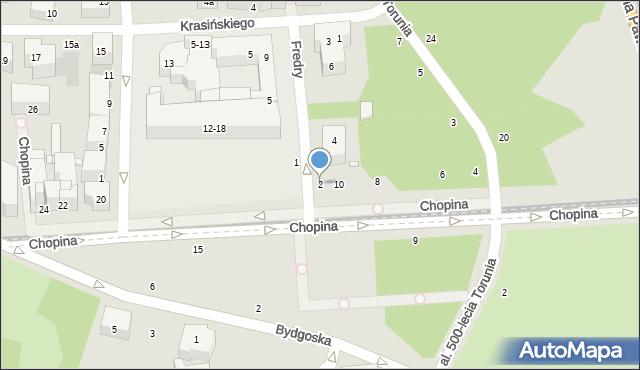 Toruń, Fredry Aleksandra, 2, mapa Torunia