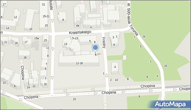 Toruń, Fredry Aleksandra, 5, mapa Torunia