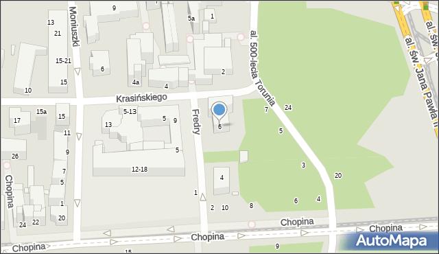 Toruń, Fredry Aleksandra, 6, mapa Torunia