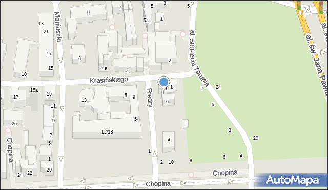 Toruń, Fredry Aleksandra, 8, mapa Torunia