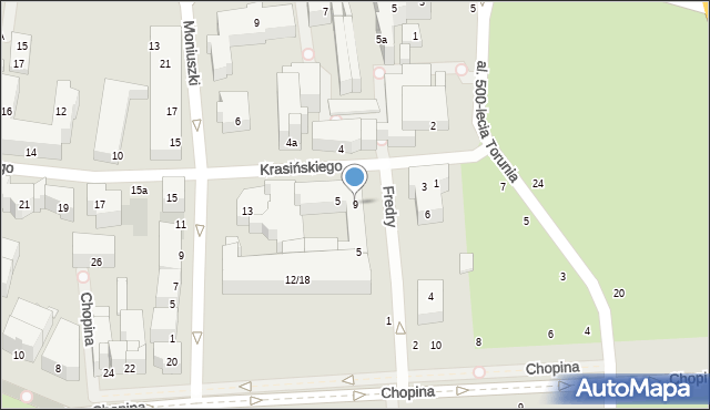 Toruń, Fredry Aleksandra, 9, mapa Torunia