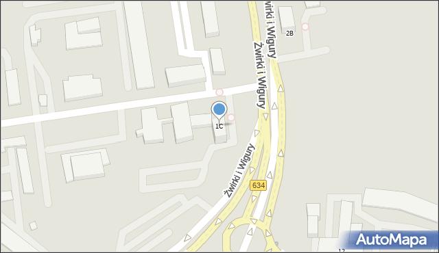 Warszawa, Franciszka Żwirki i Stanisława Wigury, 1C, mapa Warszawy