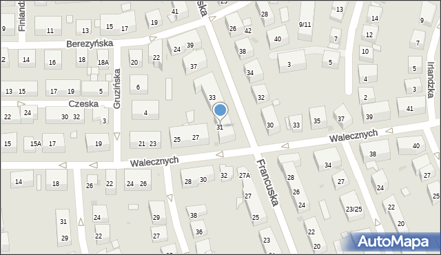 Warszawa, Francuska, 31, mapa Warszawy