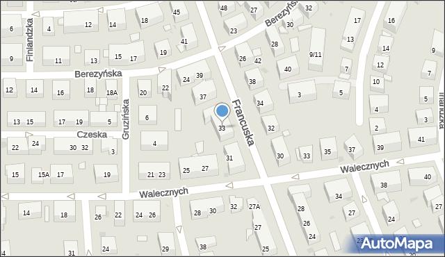 Warszawa, Francuska, 33, mapa Warszawy