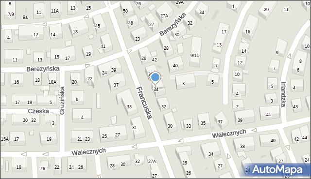 Warszawa, Francuska, 34, mapa Warszawy