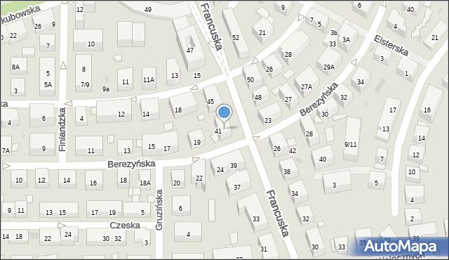 Warszawa, Francuska, 43, mapa Warszawy