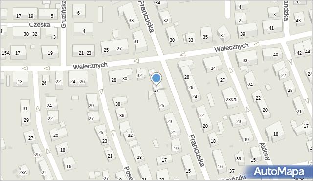 Warszawa, Francuska, 27, mapa Warszawy