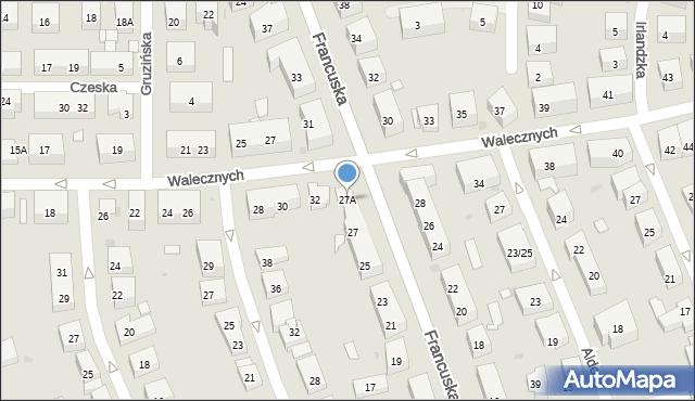 Warszawa, Francuska, 27A, mapa Warszawy