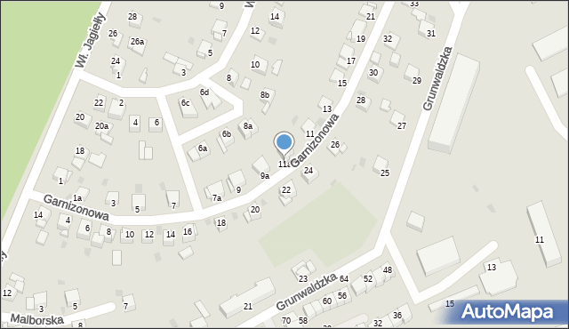 Grudziądz, Garnizonowa, 11a, mapa Grudziądza