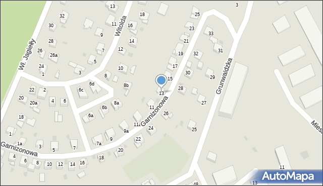 Grudziądz, Garnizonowa, 13, mapa Grudziądza