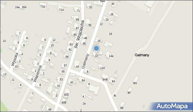 Jaworzno, Galmany, 12, mapa Jaworzno