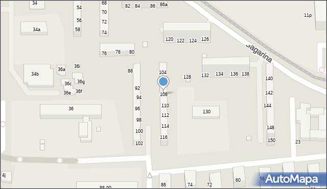 Toruń, Gagarina Jurija, 108, mapa Torunia