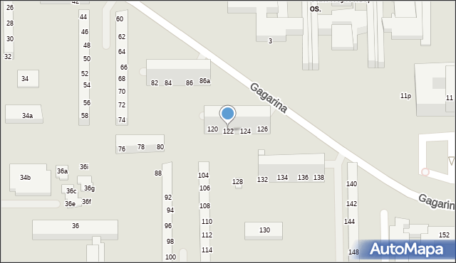 Toruń, Gagarina Jurija, 122, mapa Torunia