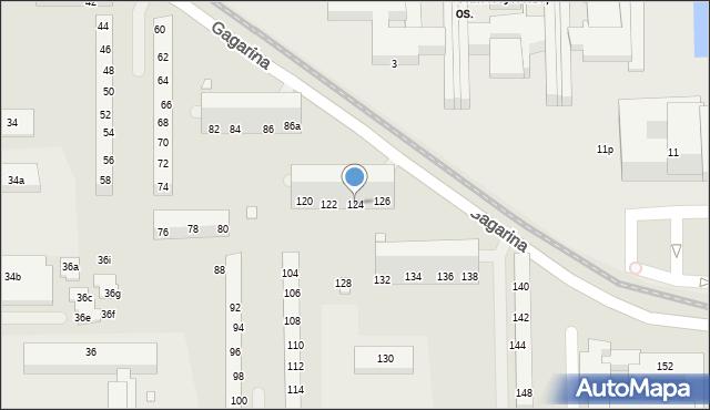 Toruń, Gagarina Jurija, 124, mapa Torunia