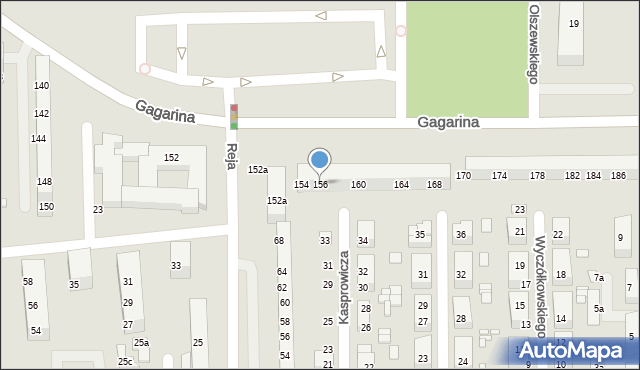 Toruń, Gagarina Jurija, 156, mapa Torunia