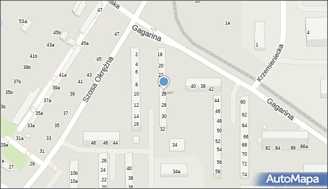 Toruń, Gagarina Jurija, 26, mapa Torunia