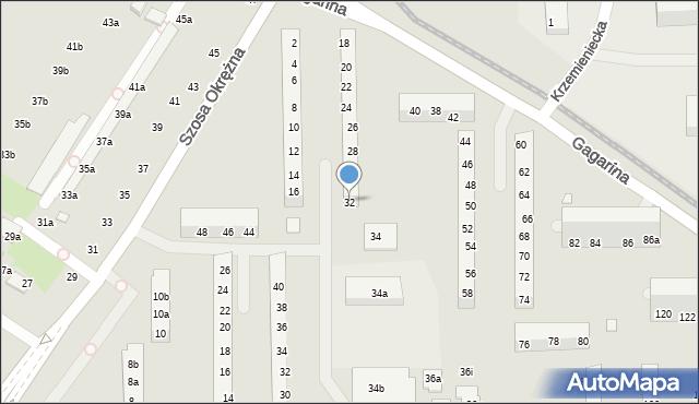 Toruń, Gagarina Jurija, 32, mapa Torunia
