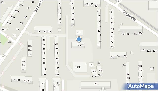 Toruń, Gagarina Jurija, 34a, mapa Torunia