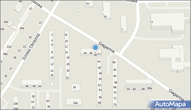 Toruń, Gagarina Jurija, 42, mapa Torunia