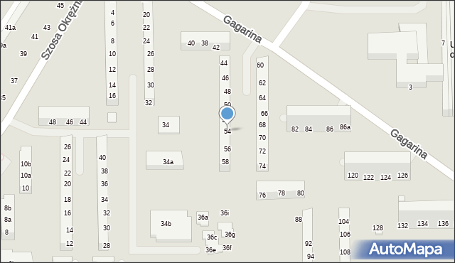 Toruń, Gagarina Jurija, 54, mapa Torunia
