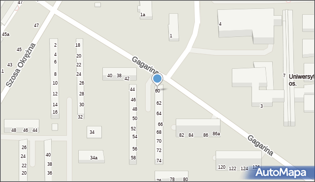 Toruń, Gagarina Jurija, 60, mapa Torunia