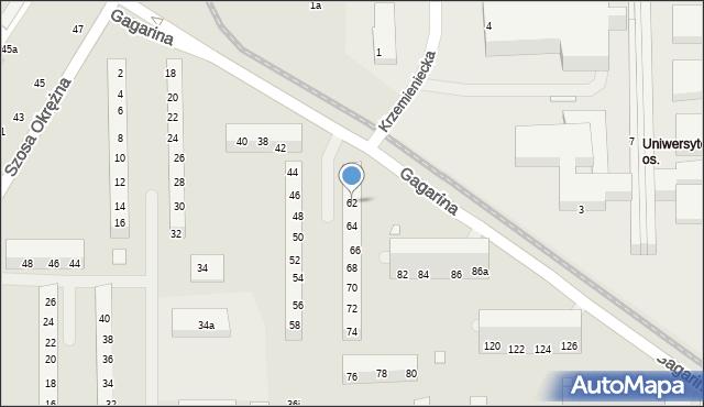 Toruń, Gagarina Jurija, 62, mapa Torunia