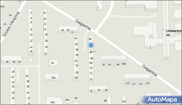 Toruń, Gagarina Jurija, 64, mapa Torunia