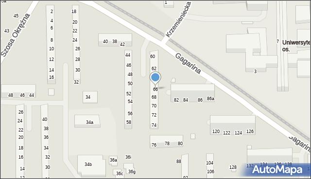Toruń, Gagarina Jurija, 66, mapa Torunia
