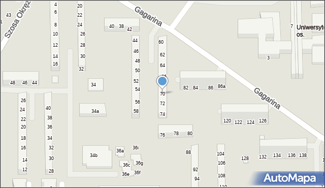 Toruń, Gagarina Jurija, 70, mapa Torunia