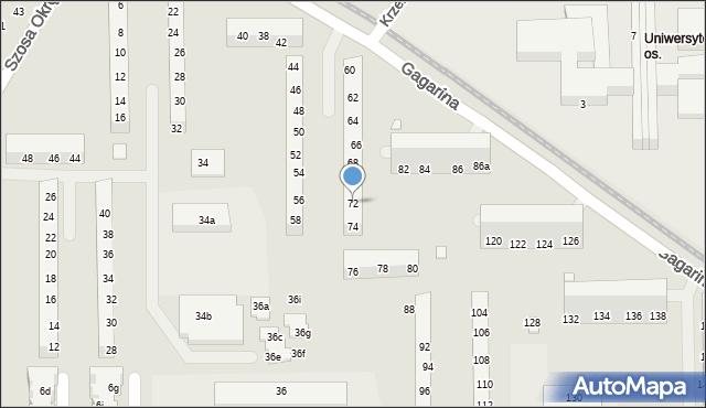 Toruń, Gagarina Jurija, 72, mapa Torunia